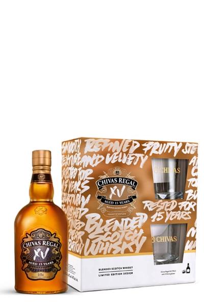 Chivas Regal 15yo XV whisky + 2 čsše